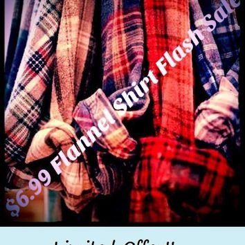PRE FALL FLASH SALE -Unisex Mystery Vintage Flannel Shirts - Pick Your Size & Color