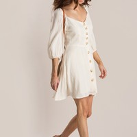 Tayla Cream Puff Sleeve Button Dress