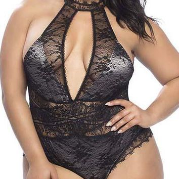 Sexy Plus Size Lace and Satin Collared Teddy with Crossover Lace