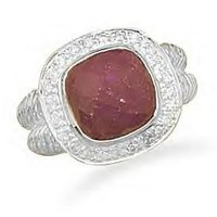 Ruby Ring With CZ Edge