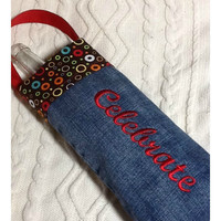 Embroidered Celebrate Wine Gift Bag with Handle by TwoSisters2Sis