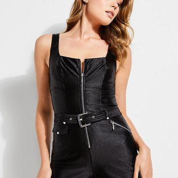 Axel Belted Moto Romper at Guess