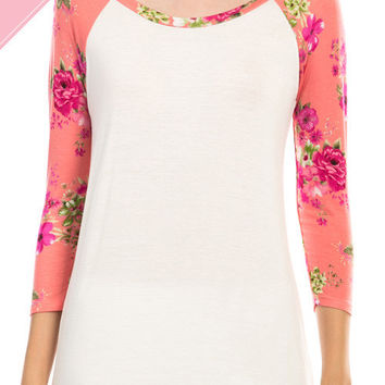 Ivory & Peach Baseball Tee w/ Floral Sleeves *MADE IN USA*