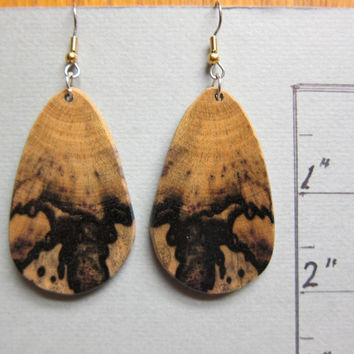 Black and White Ebony Exotic Wood Earrings Large dangle handcrafted by ExoticwoodJewelryAnd