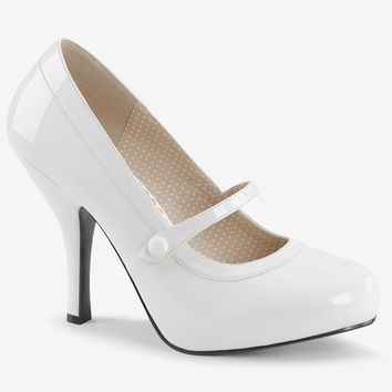 "Pin Up 01 Mary Jane Pump 4.5"" Heel White Patent PRE-ORDER"