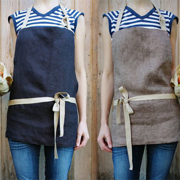 $60.67 handmade reversible linen apron LATTE and DARK  by EgleBibiliute