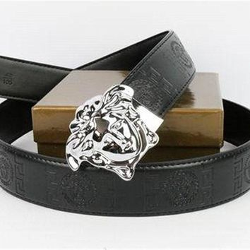 Authentic Versace Belt Medusa Head Coffee Leather Silver Buckle Belt