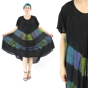 90s Tie Dye Tent Dress Festival Hippie Boho Dress Black Short Sleeve Sun Dress Ethnic Summer Caftan Dress Slouchy Embroidered Dress (L/XL)