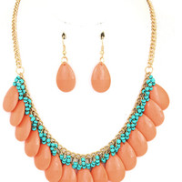Coral Teardrop Beaded Chain Necklace