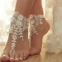 ivory Beach wedding barefoot sandals, floral lace sandals, lace sandals, bridal sandals, wedding sandals, pearl barefoot sandals