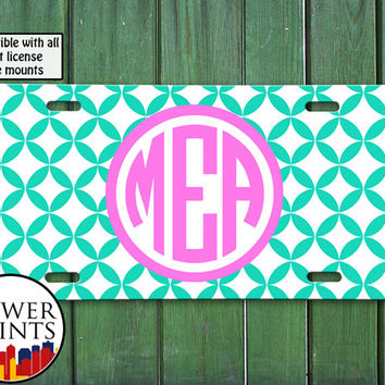 Mint And Pink Pastel Diamond Pattern Monogram Cute Initials Personalized For Front License Plate Car Tag One Size Fits All Vehicle Custom