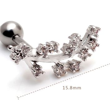 Fashion plum flower branches zircon earrings Stainless steel antiallergic tragus Earring-0427-Gifts box