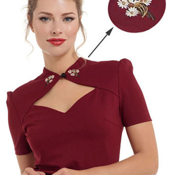 Enchanting Owls Embroidered Collar Top