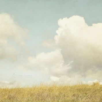 Summer Art, Landscape Photography, Cloud Print, Living Room Wall Decor, Chartreuse & Blue |'The Prairie Dog's View'