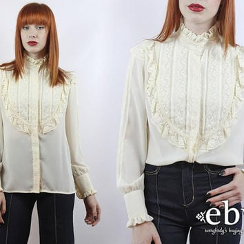 Vintage 70s Cream Tuxedo Blouse S M L Tuxedo Ruffle Blouse Longsleeve Blouse Cream Shirt Victorian Blouse Lace Blouse Cream Blouse