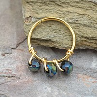 Iridescent Black Beaded Cartilage Hoop Tragus Hoop Helix Hoop Earring