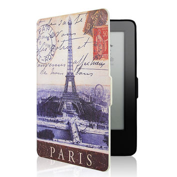 for kindle paperwhite PU Leather Stand Case Cover funda for Amazon kindle paperwhite 1/2 6 inch e-Books case+film+Stylus Pen