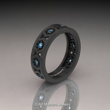 Womens Modern Armenian 14K Grey Gold Swiss Blue Topaz Wedding Band R535F-14KGRGSBT