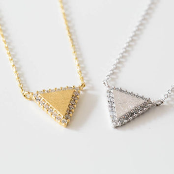 925 cz line triangle necklace
