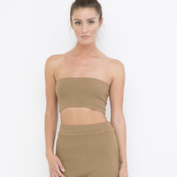 BEACH BOUND KNIT SHORT SET - TAN