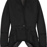 Givenchy - Chevron wool jacket with velvet trim