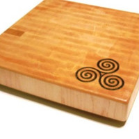 "Triple Spiral Personalized Cutting Board -  Custom Image - End Grain Maple 14""x14""x2"" with Feet"