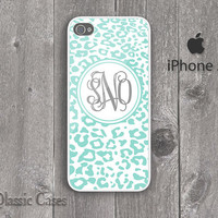 iPhone 5 Hard Case Custom Monogram leopard print Pattern Mint Phone Case