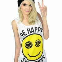 Be Happy Stay Trippy Tank - Womens - Tank Tops - Umbrella - Brands - Paper Alligator