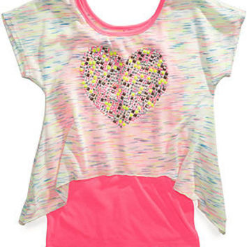 Beautees Kids Top, Girls High-Low Layered Tee - Kids Girls 7-16 - Macy's