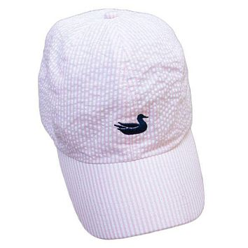 Limited Edition Pink Seersucker Hat with Navy Duck by Southern Marsh