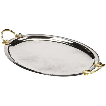 Silver & Brass Colored Serving Tray, Rounded