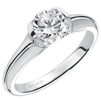"Artcarved ""April"" Half Bezel Set Diamond Engagement Ring"