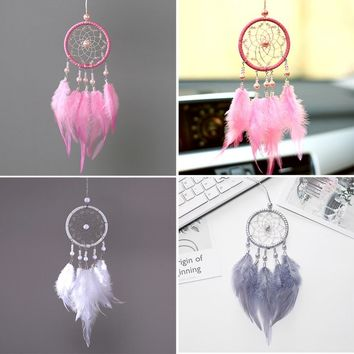 Handmade Dream Catcher Pendant Mini Car Ornaments Innovative Gifts Wind Chimes Dreamcatcher Natural Feathers Wall Hanging Decor