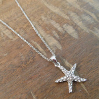 Silver Starfish necklace - Small Starfish Necklace - Rhinestone Starfish Necklace