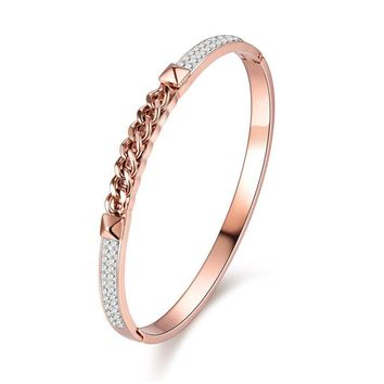 Women Crystal Stainless Steel Bangle