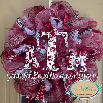 Texas A&M Aggies ATM Deco Mesh Wreath with by JenniferBoydDesigns
