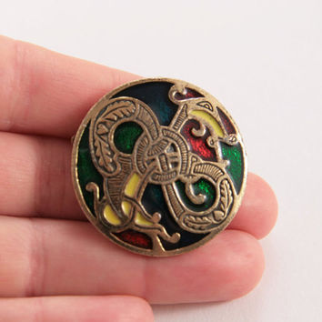 Sol d or Miracle Signed Enamel Celtic Dragon Pendant Brooch