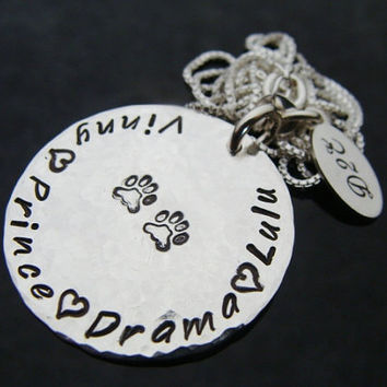 SALE Pet Lover D2E personalized engraved hand stamped sterling silver hammered disc necklace with paw prints