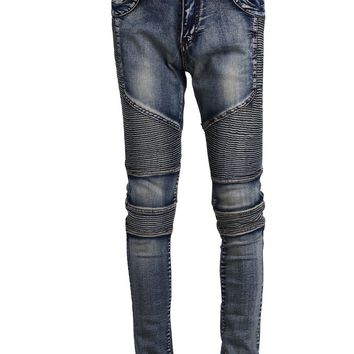 Runway Men`s Grey Washed Slim Fit Denim Pants Hip Hop Stretchy Motorcycle Biker Jeans For Hipster