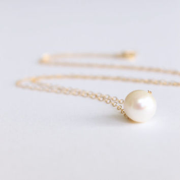 Single Pearl Necklace - 14k Gold or Sterling Silver Necklace - Bridal Necklace - Pearl Bridesmaids Gift - Fresh Water Pearl Jewelry Set