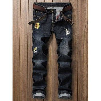 Zip Fly Applique Dark Denim Jeans - Black 34
