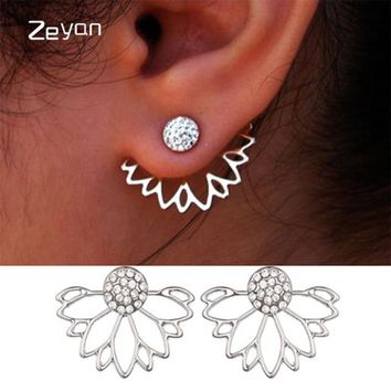 Trendy Jewelry Gold Silver Plated Hollow Out Lotus Flower Crystal Stud Earrings  Jacket Piercing Earrings For Women zyeh003