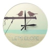 Let's Elope! Wallclock from Zazzle.com
