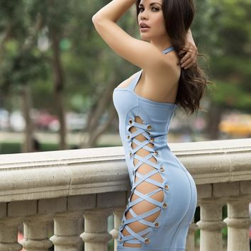 Jeannie Lace Up Cut Out Halter Bandage Dress