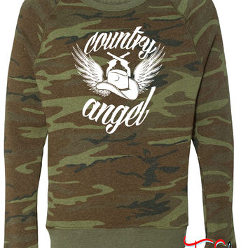Country Angel fleece crewneck sweatshirt