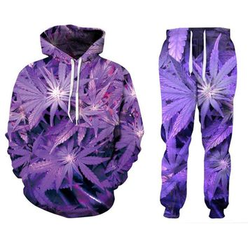 New Men/Women's Purple Weed 3D Print Fashion Tracksuits Crewneck Hip Hop Sweatshirt And Pants 2 Pcs Set Hoodies Couple Clothing