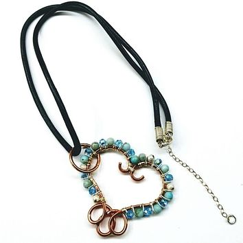 Handcrafted Turquoise Jasper Wire Wrapped Sculpted Heart Necklace