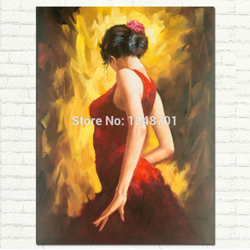 Moden figurative art FLAMENCO DANCER oil painting woman in red dress picture on canvas for decoration