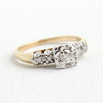 Vintage 14k Yellow & White Gold Diamond Ring- 1940s Size 6 Engagement Shoulder Diamonds Fine Jewelry