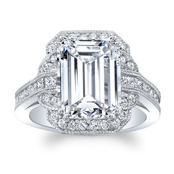 Women's 14 karat white gold engagement ring with 4 carat White Sapphire Emerald Cut and 1.10 carats diamonds G color VS2 clarity